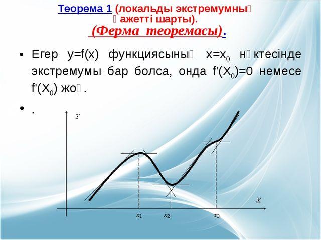 Егер у=f(х) функциясының х=х0 нүктесінде экстремумы бар болса, онда f'(Х0)=0...