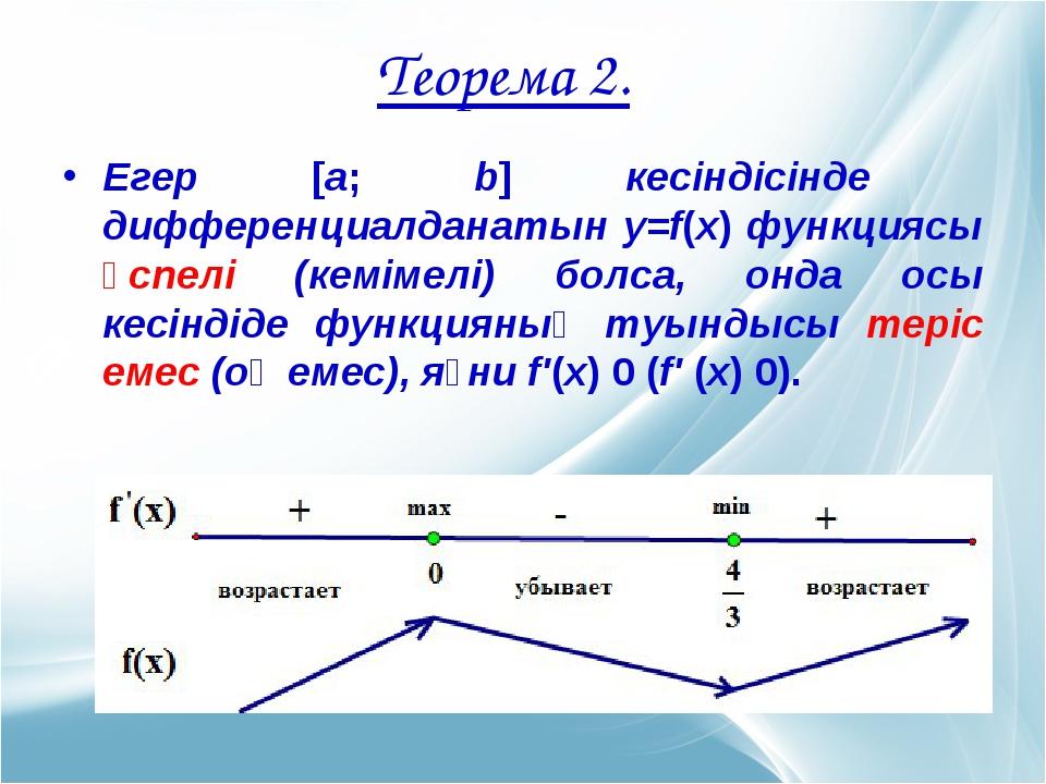 Егер [а; b] кесіндісінде дифференциалданатын у=f(х) функциясы өспелі (кемімел...
