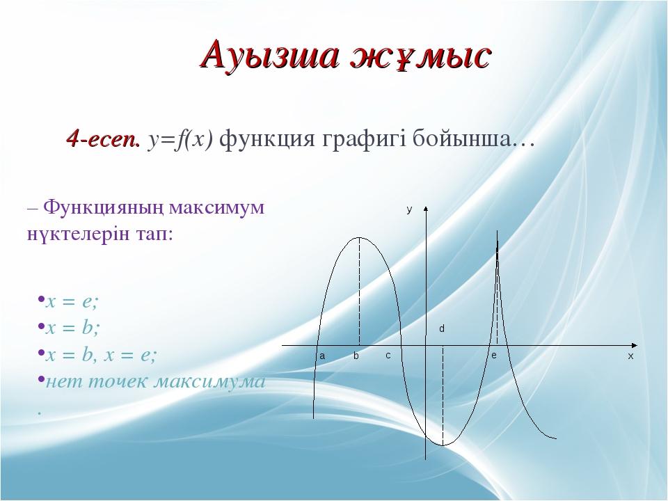 Ауызша жұмыс 4-есеп. y=f(x) функция графигі бойынша… – Функцияның максимум нү...