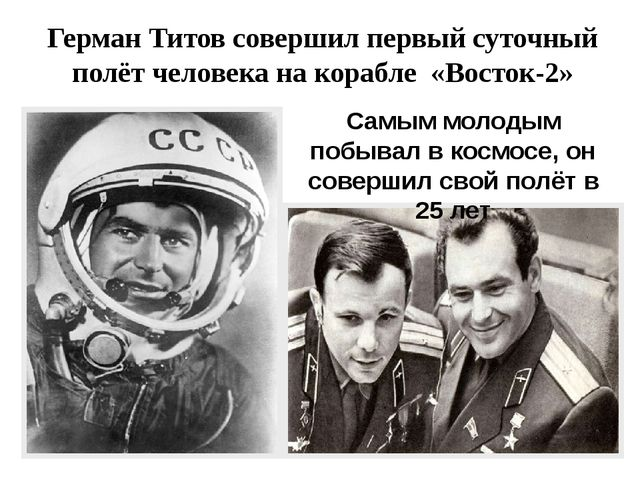 Герман Титов совершил первый суточный полёт человекана корабле «Восток-2» Са...