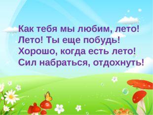Как тебя мы любим, лето! Лето! Ты еще побудь! Хорошо, когда есть лето! Сил на