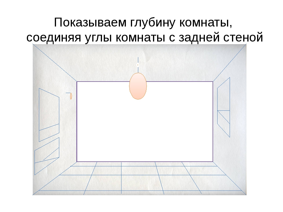 Показываем глубину комнаты, соединяя углы комнаты с задней стеной