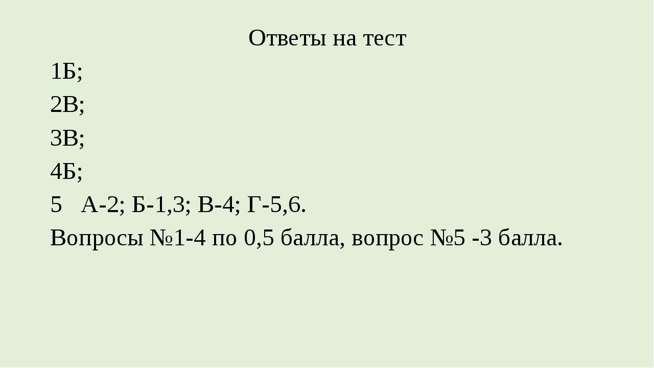 Ответы на тест 1Б; 2В; 3В; 4Б; 5 А-2; Б-1,3; В-4; Г-5,6. Вопросы №1-4 по 0,5...