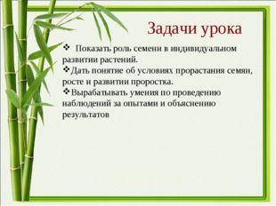 Задачи урока Показать роль семени в индивидуальном развитии растений. Дать по