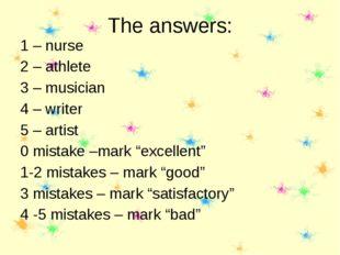 The answers: 1 – nurse 2 – athlete 3 – musician 4 – writer 5 – artist 0 mista