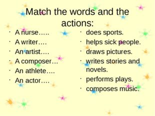 Match the words and the actions: A nurse….. A writer…. An artist…. A composer