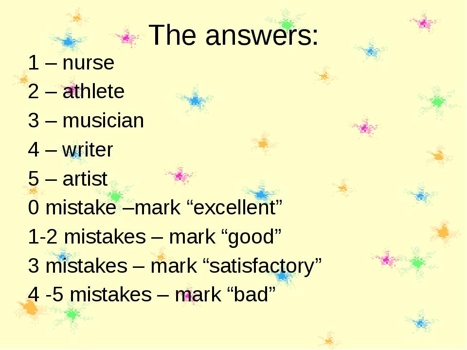 The answers: 1 – nurse 2 – athlete 3 – musician 4 – writer 5 – artist 0 mista...