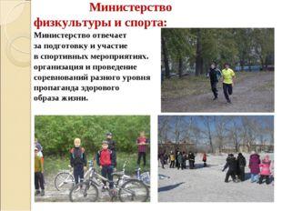 Министерство физкультуры и спорта: Министерство отвечает за подготовку и