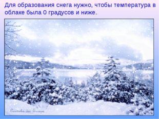 Для образования снега нужно, чтобы температура в облаке была 0 градусов и ниж