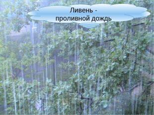Ливень - проливной дождь.