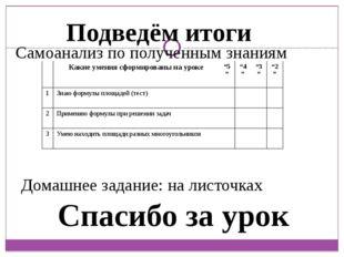 Подведём итоги Домашнее задание: на листочках Спасибо за урок Самоанализ по п