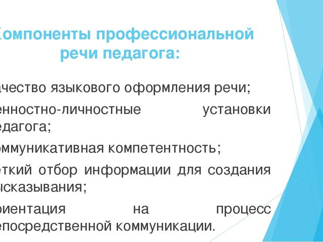 Компоненты профессиональной речипедагога: качество языкового оформления речи...