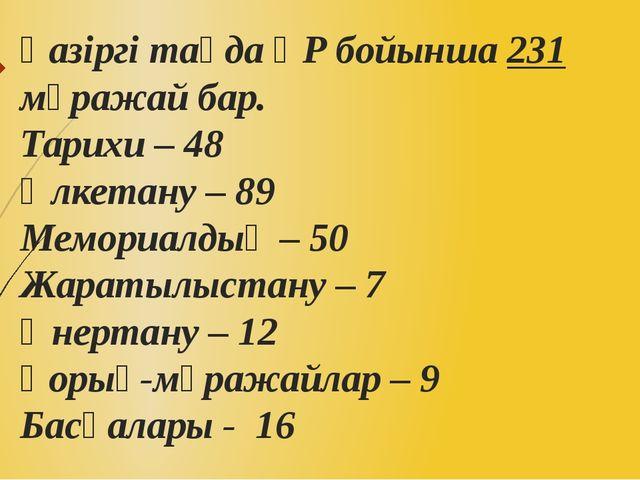 Қазіргі таңда ҚР бойынша 231 мұражай бар. Тарихи – 48 Өлкетану – 89 Мемориалд...