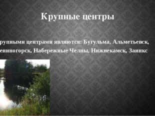 Крупные центры Крупными центрами являются: Бугульма, Альметьевск, Лениногорск