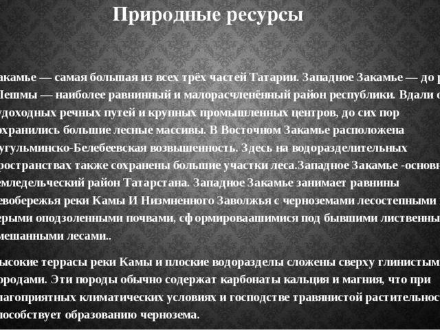 Природные ресурсы Закамье — самая большая из всех трёх частей Татарии. Западн...