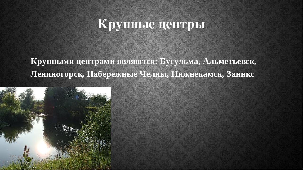 Крупные центры Крупными центрами являются: Бугульма, Альметьевск, Лениногорск...