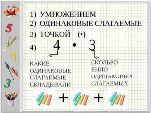 1) УМНОЖЕНИЕМ 2) ОДИНАКОВЫЕ СЛАГАЕМЫЕ 3) ТОЧКОЙ (•) 4) 4 • 3 КАКИЕ ОДИНАКОВЫЕ