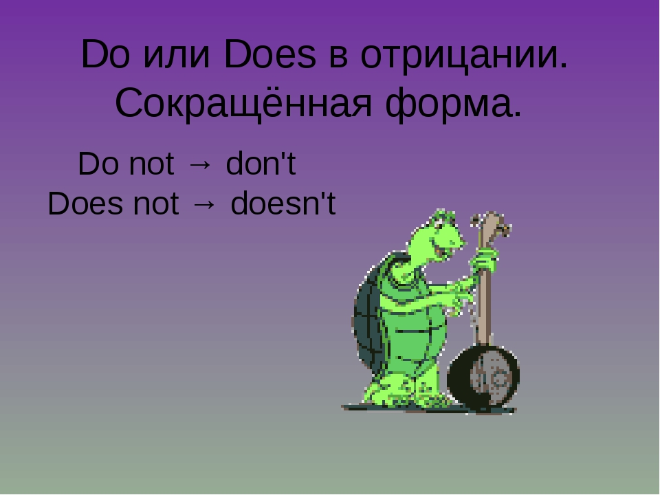 Do или Does в отрицании. Сокращённая форма. Do not → don't Does not → doesn't