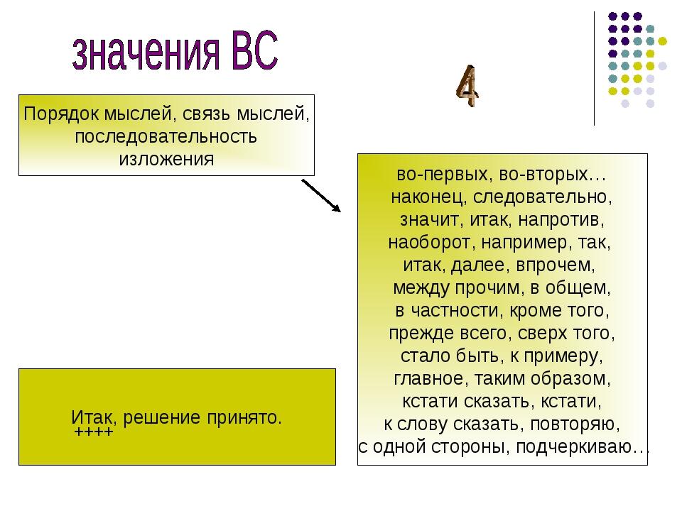 Порядок мыслей, связь мыслей, последовательность изложения во-первых, во-втор...