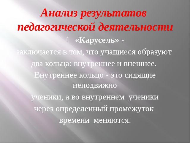 Анализ результатов педагогической деятельности «Карусель» - заключается в том...