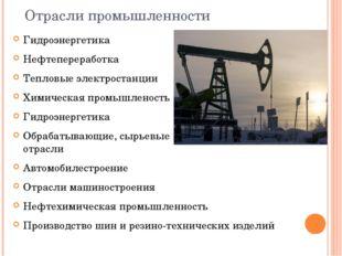 Отрасли промышленности Гидроэнергетика Нефтепереработка Тепловые электростан