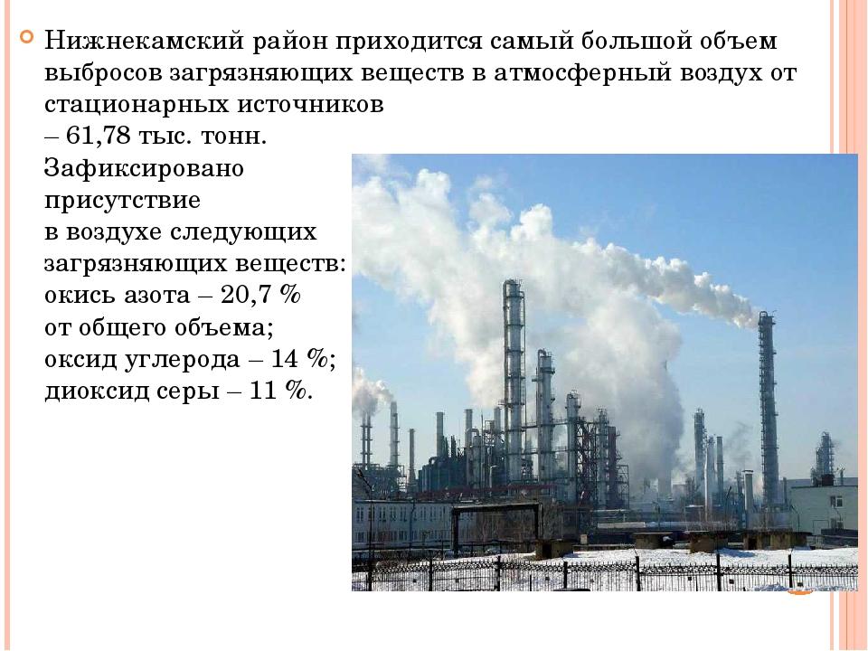 Нижнекамский район приходится самый большой объем выбросов загрязняющих вещес...