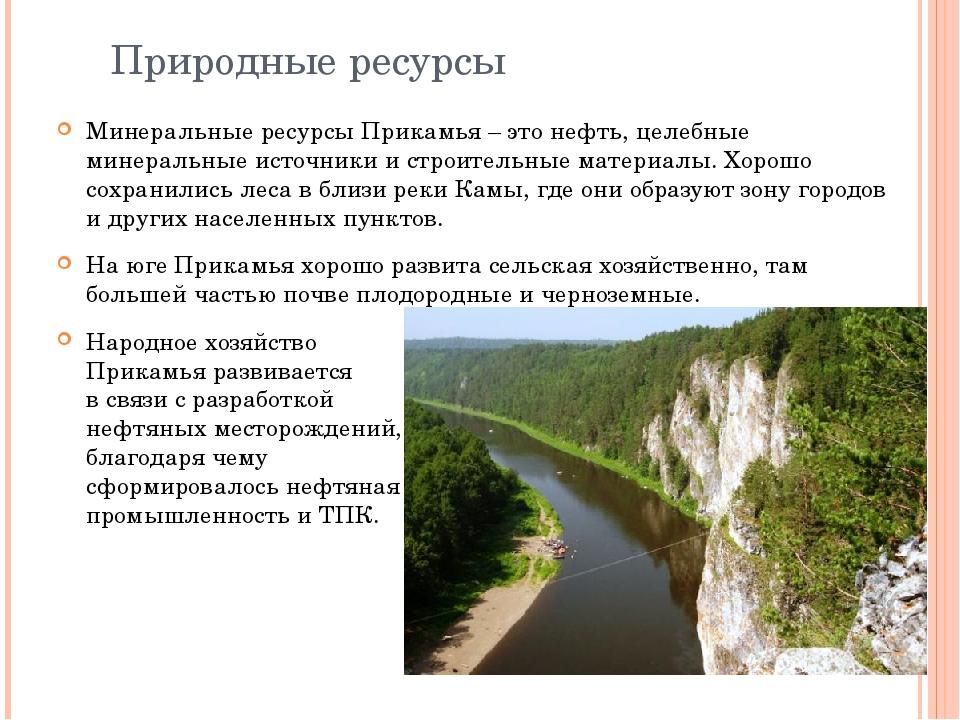 Природные ресурсы Минеральные ресурсы Прикамья – это нефть, целебные минераль...