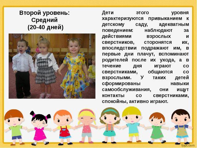 Дети этого уровня характеризуются привыканием к детскому саду, адекватным пов...