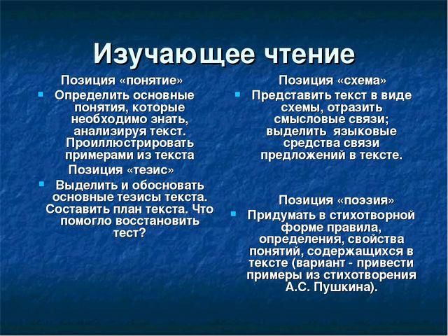 Изучающее чтение Позиция «понятие» Определить основные понятия, которые необх...