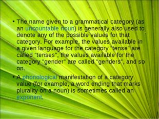 The name given to a grammatical category (as anuncountable noun) is generall