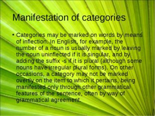 Manifestation of categories Categories may be marked on words by means of inf