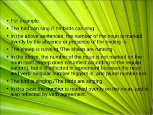For example: The bird can sing./The birds can sing. In the above sentences, t