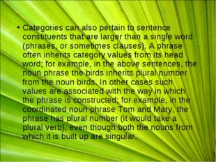 Categories can also pertain to sentence constituents that are larger than a s