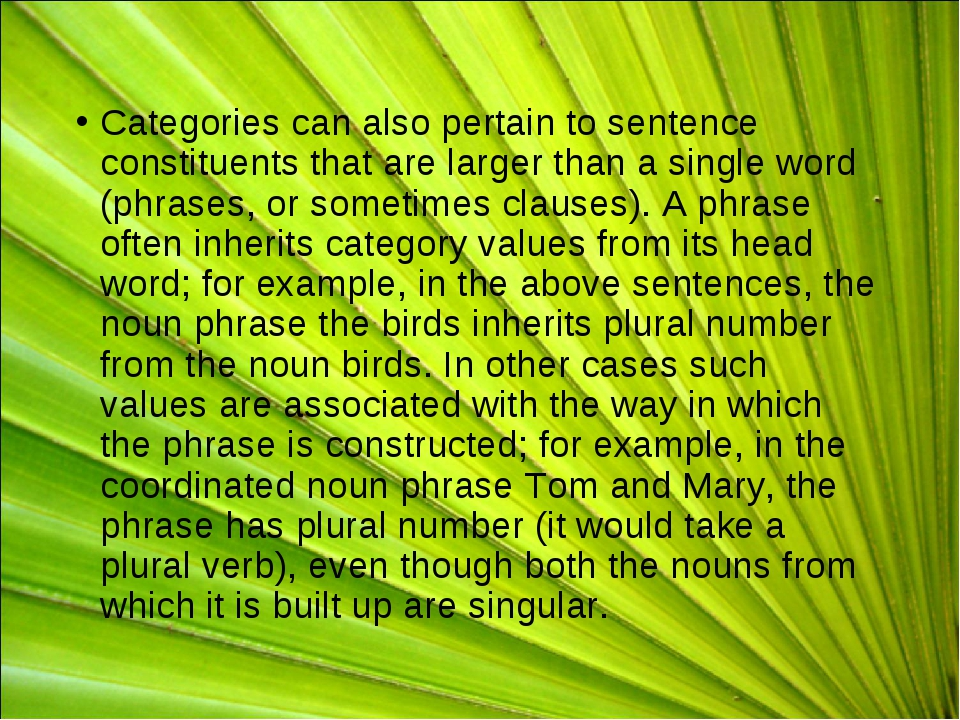 Categories can also pertain to sentence constituents that are larger than a s...
