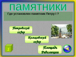 Где установлен памятник Петру I ? Петровский сквер Площадь Революции Кольцов