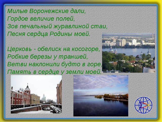 Милые Воронежские дали, Гордое величие полей, Зов печальный журавлиной стаи,...