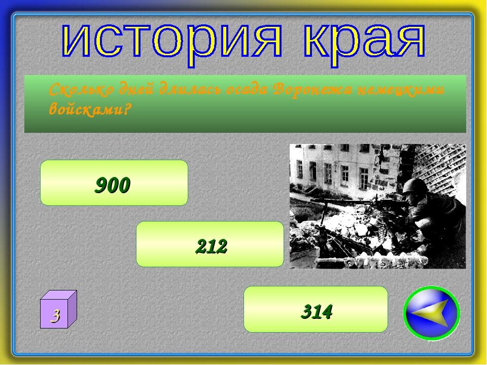 Сколько дней длилась осада Воронежа немецкими войсками? 212 900 314 3