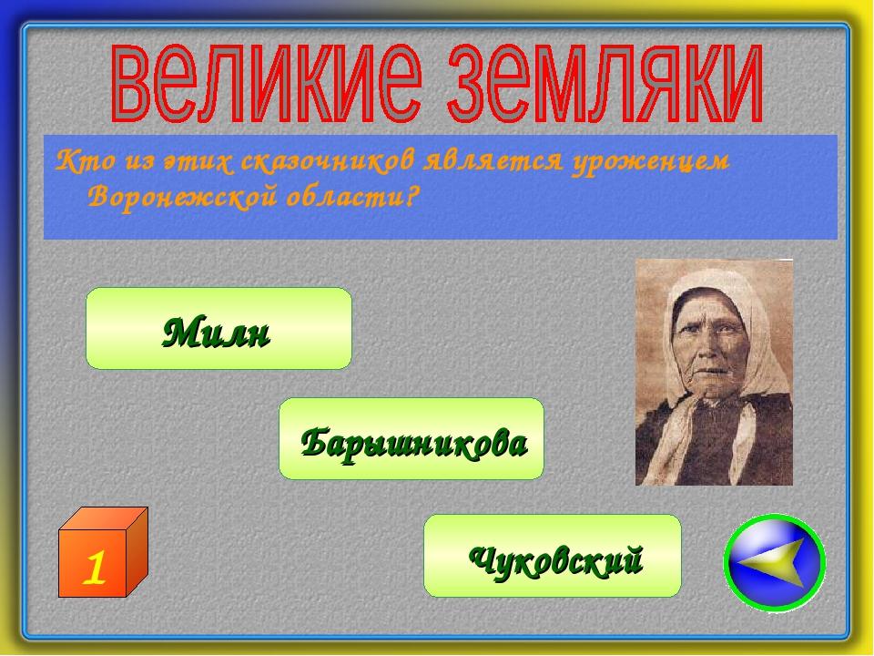 Кто из этих сказочников является уроженцем Воронежской области? Барышникова М...