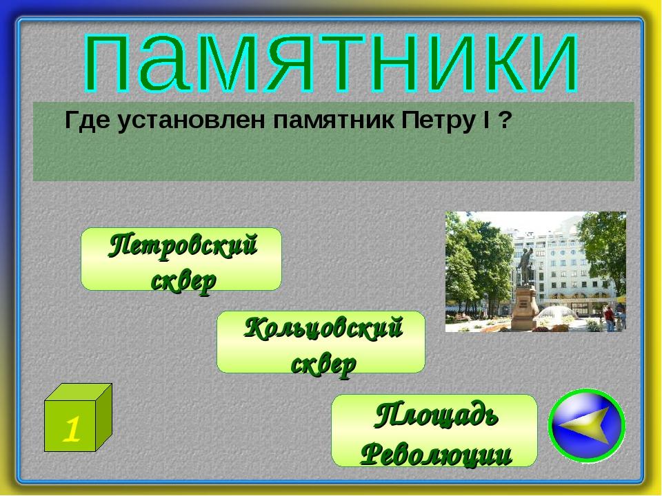 Где установлен памятник Петру I ? Петровский сквер Площадь Революции Кольцов...