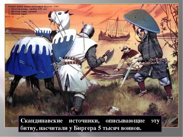Скандинавские источники, описывающие эту битву, насчитали у Биргера 5 тысяч в...
