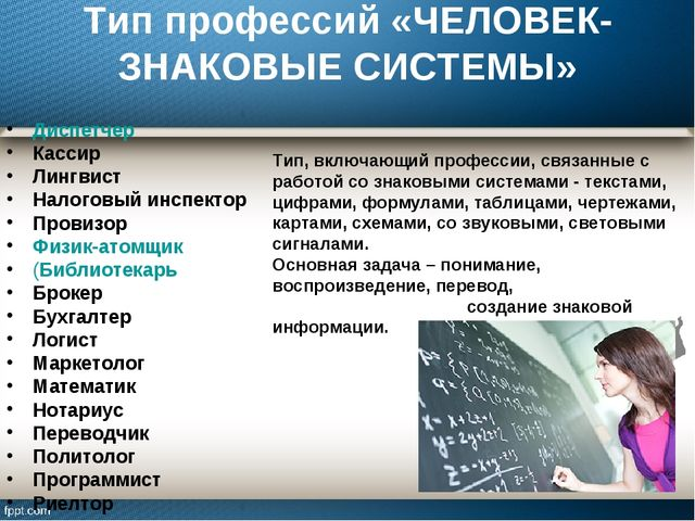 Тип профессий «ЧЕЛОВЕК-ЗНАКОВЫЕ СИСТЕМЫ» Диспетчер Кассир Лингвист Налоговый...