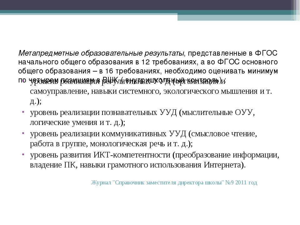 Метапредметные образовательные результаты, представленные в ФГОС начального...