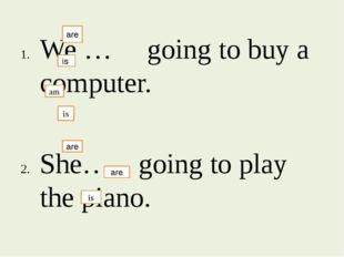We … going to buy a computer. She….. going to play the piano. I….. going to
