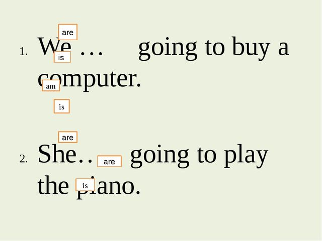 We … going to buy a computer. She….. going to play the piano. I….. going to...
