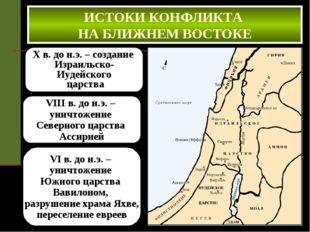 X в. до н.э. – создание Израильско- Иудейского царства ИСТОКИ КОНФЛИКТА НА БЛ