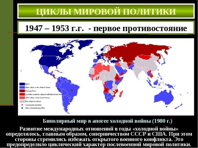 ЦИКЛЫ МИРОВОЙ ПОЛИТИКИ Биполярный мир в апогее холодной войны (1980 г.) 1947...