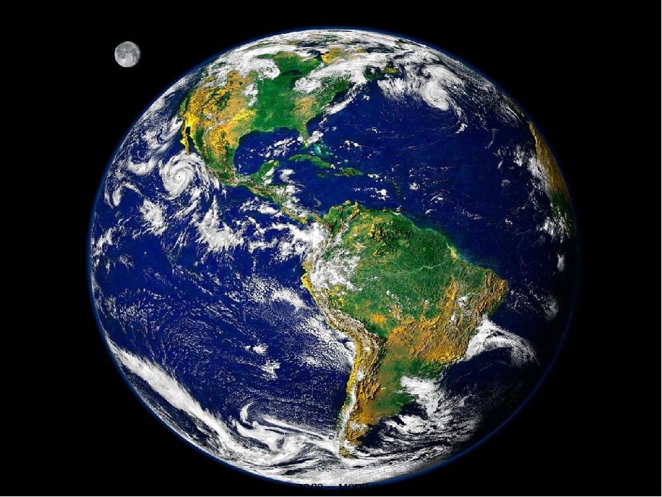 земля Посмотри, синие пятна на нашей планете – это вода – моря и океаны. Зеле...