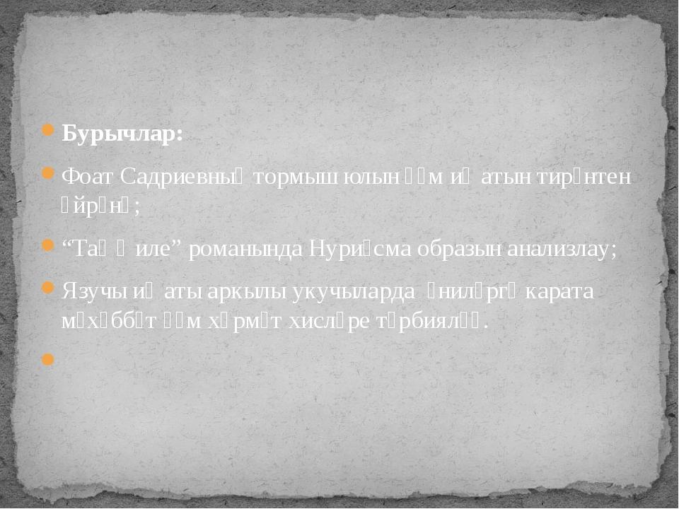 "Бурычлар: Фоат Садриевның тормыш юлын һәм иҗатын тирәнтен өйрәнү; ""Таң җиле""..."