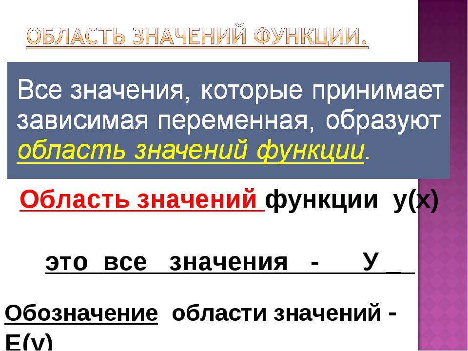 Область значений функции у(х) это все значения - У _ Обозначение области знач...