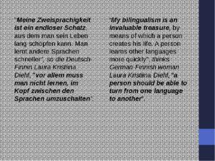 """""""Meine Zweisprachigkeit ist ein endloser Schatz, aus dem man sein Leben lang"""